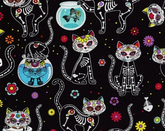 Day of the Dead Kitty Timeless Treasures Cotton Fabric C4159 Black, By the Yard