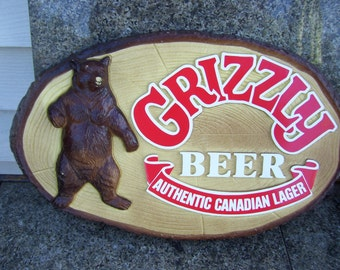 Grizzly Beer Sign,Authentic Canadian Lager, Oval Wood Looking Plastic Sign, Large Bear, Man Cave
