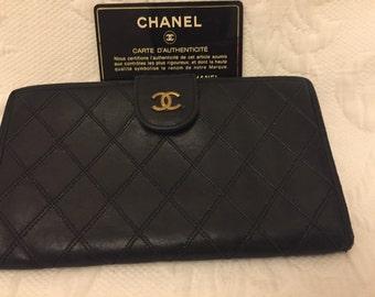 REDUCED vintage Chanel black leather wallet