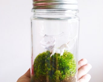 Diamond Unicorn Terrarium, Moss Terrarium, Glass Terrarium Jar