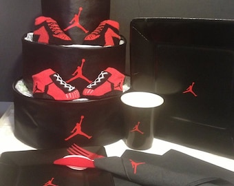 Faux Leather Jordan themed Diaper Cake with Matching Tableware