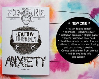 Zine - Extra Friendly Anxiety | Handmade A5 Zine | Anxiety | Gift | Self-Care | Mental Health | Zine | Body Positive