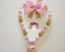 Pink and gold chunky necklace,Princess coach chunky bead necklace,Bubblegum necklace princess,pink and gold chunky bead necklace