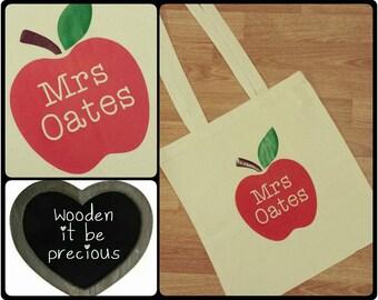 Personalised Teacher Tote Bag -Teacher Gift - Apple Teacher Bag - Tote Bag - Thank You Gift