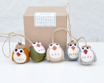 needle felted owl baby shower gift, ornament set of 5, owl baby shower decor, needle felt owl ornaments, woodland animal nursery decor