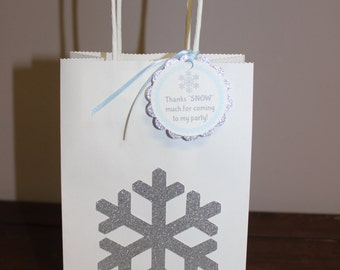 Snowflake Party Favor Bags with Matching Tags, Set of 6, Blue & Silver Snowflake Party Favor Bags,Winter Wonderland or Frozen Party Favors