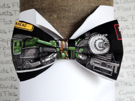 Train bow tie, green train on black cotton bow tie, pre tied bow tie, bow ties for men