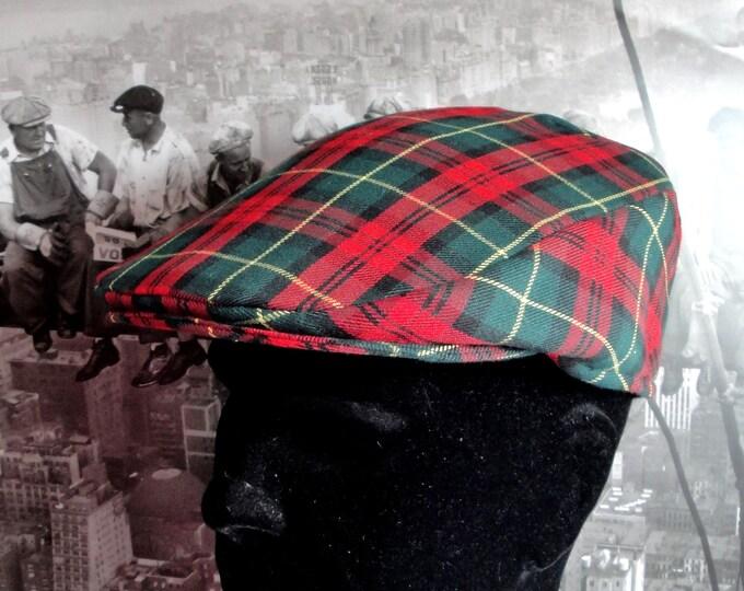 Featured listing image: Flat Cap, red tartan flat cap for men, check flat cap, red flat cap, hats for men