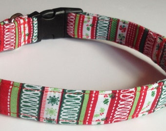 Red & Green Striped Christmas Collar for Dogs and Cats