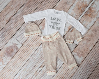 Tribal, Aztec, Teepee Coming Home Baby, Newborn Pants, Mitts, and Hat + Love Our Tribe Teepee Bodysuit