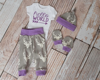 Purple Hello World Baby Deer Antlers/Horns Pants, Hat, Scratch Mitts with Grey and Purple +Glitter Hello World Bodysuit