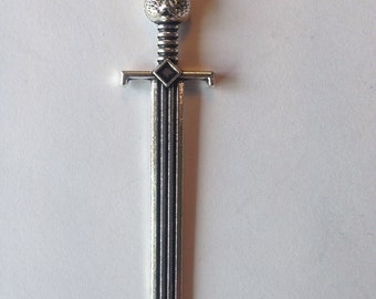Sword Pendant, Silver, for jewellery making - Large Sword with Cat Face