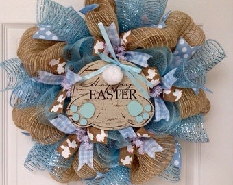 Easter Wreath Cottontail Bunny Feet Handmade Deco Mesh 20 Inches