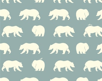Bear hike mineral by Birch Fabrics.  100% Gots certified organic cotton, fabric by the yard, bears, woodland, grey, blue, bear camp