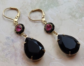 Black Teardrop Earrings - Anniversary Gifts for Her - Vintage Inspired Earrings - Jet Black Rhinestone Earrings-Teardrop Rhinestone Earrings