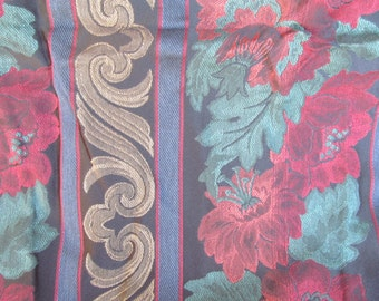 Vintage Heavy  Drapery  - Upholstery  - Fabric - Cotton 56'' wide - cotton or linen blend - decorative fabric -3 1/2'' yards