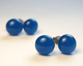 Dark Turquoise Glass Stud Earrings on titanium posts