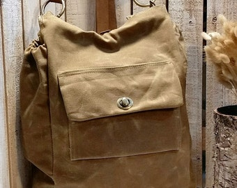 Waxed Canvas Diaper Bag / Backpack / Book Bag / Satchel / Shown in Sage