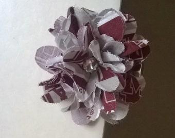 Flower Hair Clip - Texas A&M Fabric - Maroon/Gray
