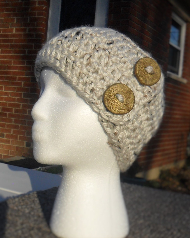 Ladies earwarmer hand crochet super bulky Lion Brand USA yarn