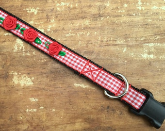 XS Dog collar, Red Dog Collar, flower dog collar, gingham dog collar, pretty dog collar, dog collar for girl, female dog collar