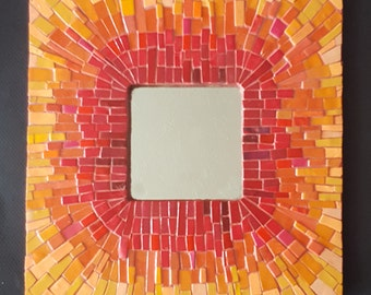 Red-Orange Mosaic MIrror