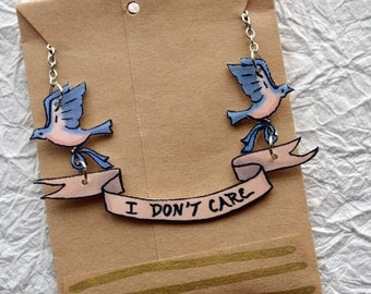 I Don't Care Banner Necklace