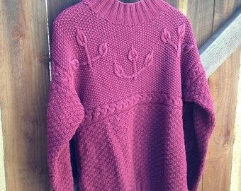 Vintage burgundy knot sweater