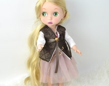 16 inches doll clothes, Disney Animators clothes, hand made clothes, brown waistcoat, tutu skirt, dusty pink