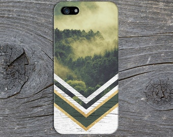 Green Forest Fog Gold Glitter White Wood Case,iPhone X, iPhone 7 Plus Tough iPhone Case, Galaxy s8, Samsung Galaxy Case, Note 8, CASE ESCAPE
