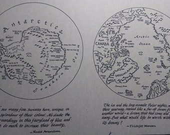 Arctic and Antarctic map, hand-drawn