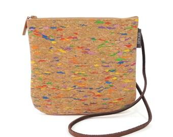 Multicolor Crossbody Bag/ Small Cork Purse/ Vegan Cross Body Bag/ Eco Friendly Tan Purse/ Mini Shoulder Bag/ Hands Free Bag/ Zip Top Purse