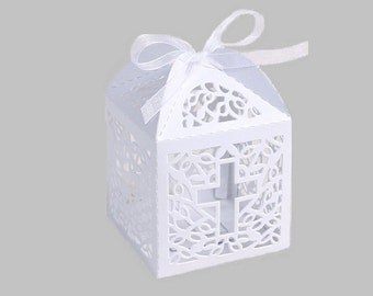Assemble 10 White Laser Cut Cross Box Baptism, Christening, Communion Favor Box Baby Shower  Gift Candy Favors Gift Boxes Bags With Ribbons
