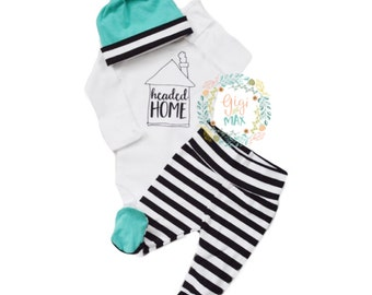 Newborn baby girl or boy coming home outfit Teal Black and white stripe theme headed home baby shower gift baby set going home hospital