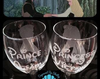 Hand Engraved Disney Wedding Glasses! Sleeping Beauty & Prince Philip. Free Personalisation!