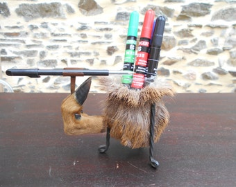 Vintage French Deer Hoof Crayon/brush Pot