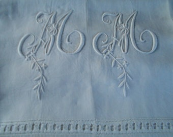 Antique French Linen embroidered sheet initials M M GORGEOUS!!