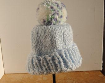 Baby boy knit hat with pom pom