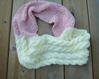 Cabled Cowl/ Hand knit/ Two colors/ infinity