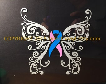Pink And Blue Awareness Ribbon Fancy Butterfly Window Decal