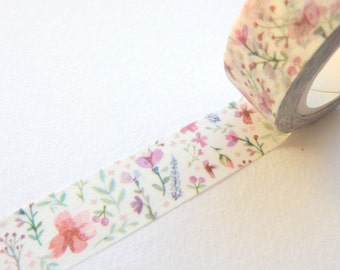 Ditsy Flowers Watercolour Effect Washi Tape 15mm x 10m