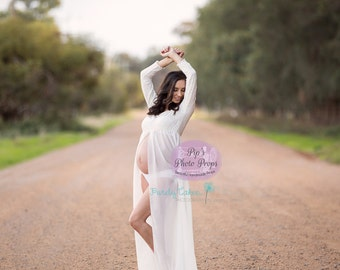 White Long sleeve off the shoulder Gown #NO Discounts