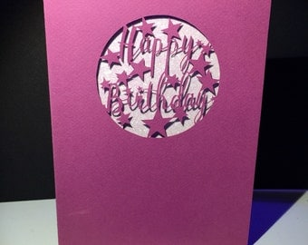 Papercutting Template - 'Happy Birthday' - Cut your own Papercut - JPEG resizable - commercial rights included