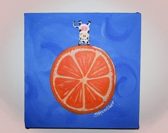 Cow on Orange, Custom Painting, Canvas, Acrylic
