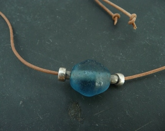 Ancient Aquamarine Glass Necklace Afghanistan Glass Bead Leather Necklace CarmaPearls Original