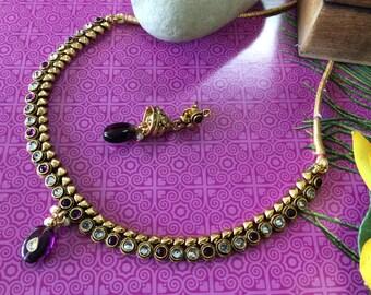 Beautiful 1 gm gold plated purple Necklace Set