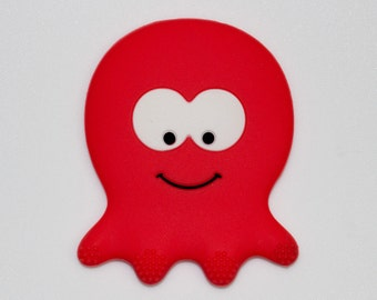 Silicone Octopus Teether in Red