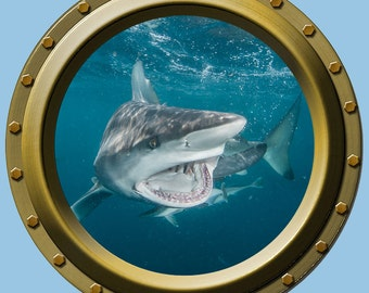 Reusable Shark Porthole Wall Vinyl Fabric High Quality