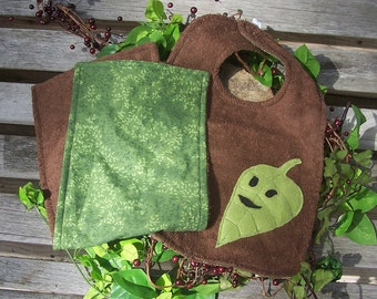 Fairy Leaf Bib and Burp Cloth Set for Baby - Smiling Green Leaf - Fairy Forest Nature Pixie Woodlands Tree Druid Pagan