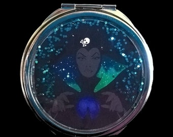 """Pocket mirror or bag, sequined """"EVIL QUEEN"""" witch in Snow White"""